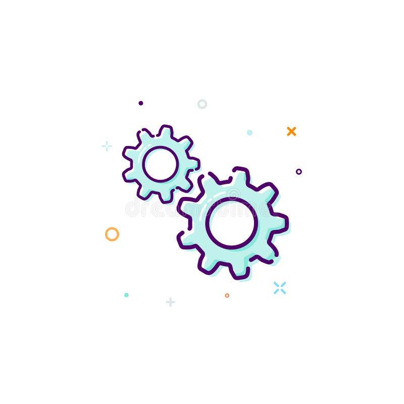 Utrustar symbolen, den tunna linjen lägenhetdesignbegrepp Mekanism av samarbete och teamwork också vektor för coreldrawillustrati royaltyfri illustrationer