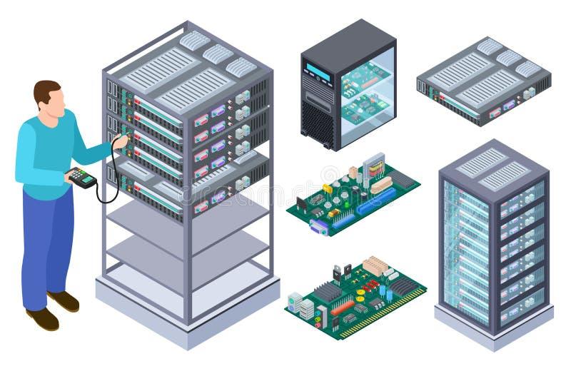 Utrustning för manprovdator Qa-tester, moderkort och samling för vektor för datalagringar isometrisk stock illustrationer