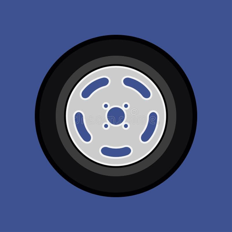 Utrustning för maskin för chaufför för trans. för gummihjul för tecken för bilhjul Medel för del för vektorautomatiskmotor Svart  vektor illustrationer
