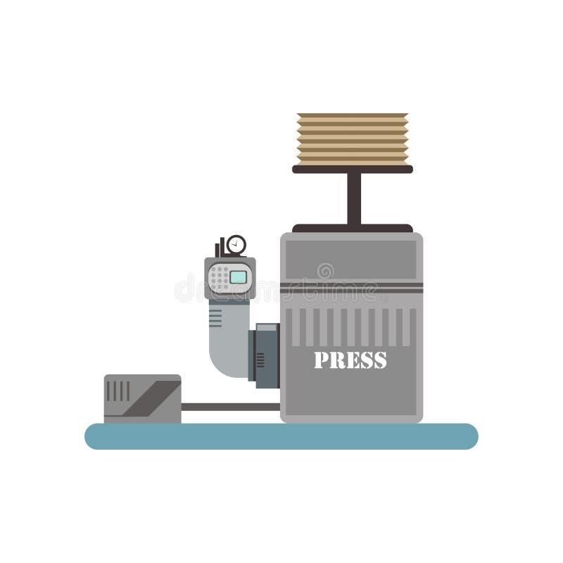 Utrustning för vinpress, illustration för vinodlingproduktionsprocessvektor på en vit bakgrund vektor illustrationer