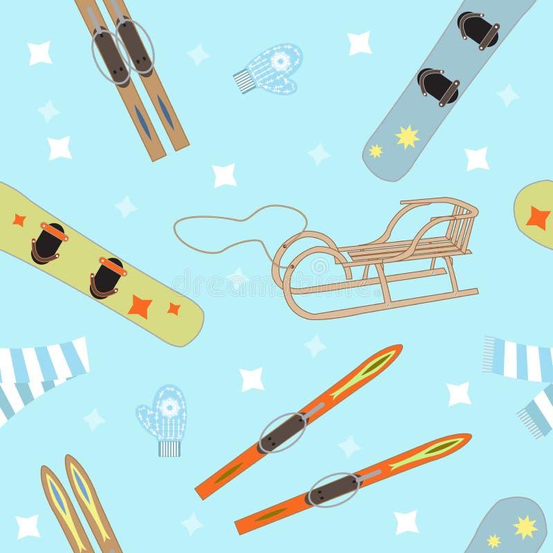 Utrustning för vintersportar stock illustrationer