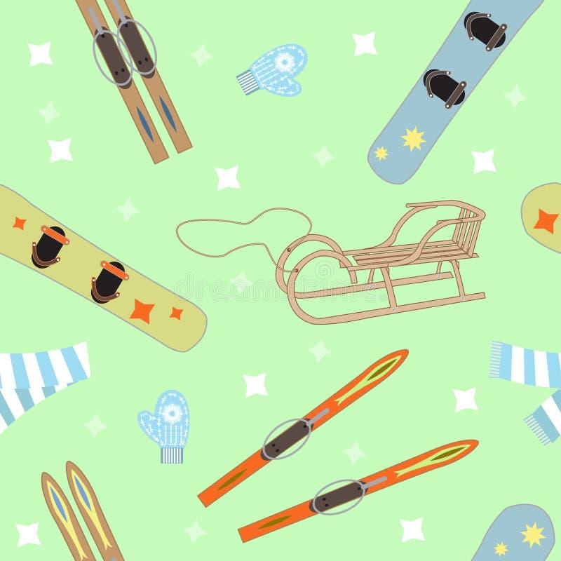 Utrustning för vintersportar royaltyfri illustrationer