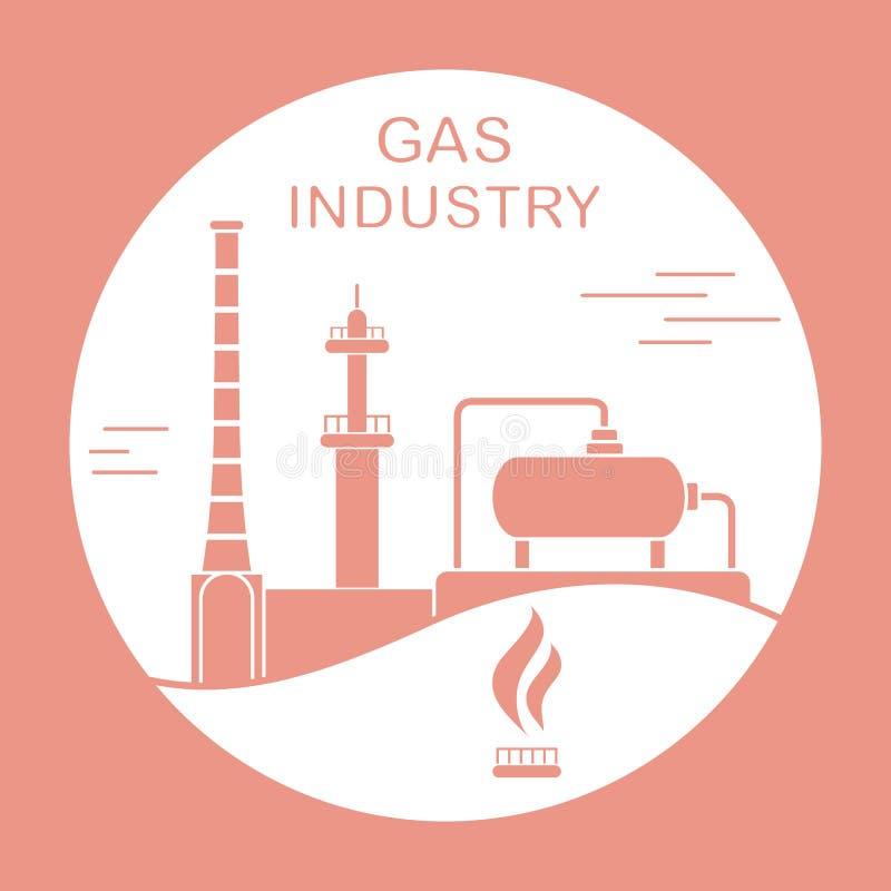 Utrustning f?r gasbransch Extraktion som bearbetar vektor illustrationer