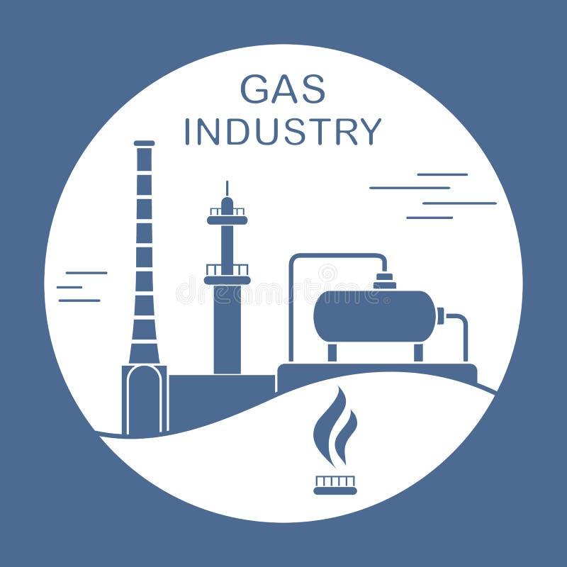Utrustning f?r gasbransch Extraktion som bearbetar royaltyfri illustrationer