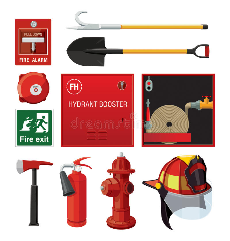 utrustningfirefighting royaltyfri illustrationer