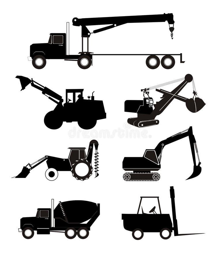 utrustningindustrilastbilar stock illustrationer