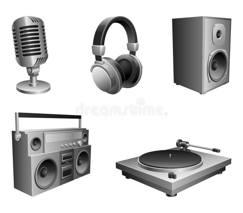 utrustningmusik vektor illustrationer