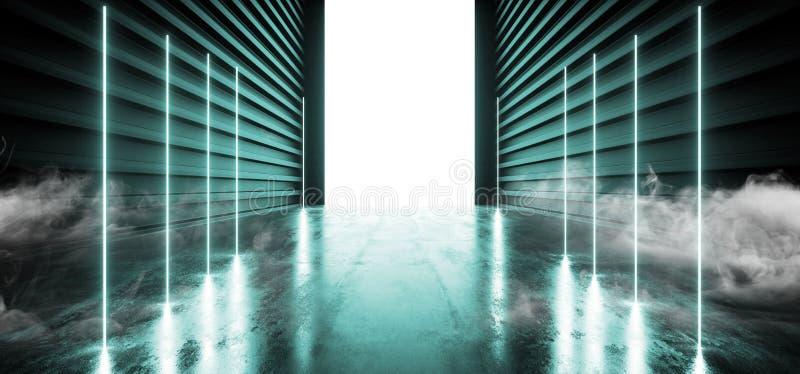 Utrymme för futuristisk för garage för rökneonlaser fluorescerande blått grönt reflekterande tomt för visningslokal för tunnel fö vektor illustrationer