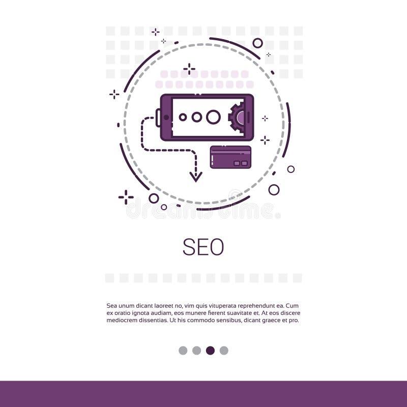 Utrymme för lokalSeo Keywording Search Banner With kopia stock illustrationer
