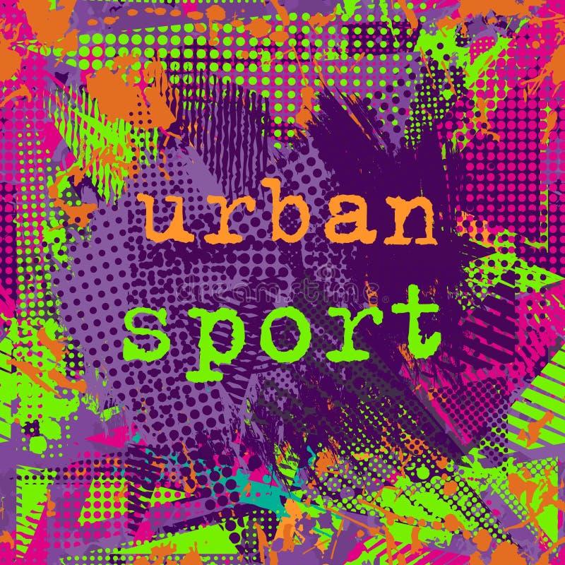 Utrymme för målarfärgslaglängdkopia abstrakt stads- modell stock illustrationer