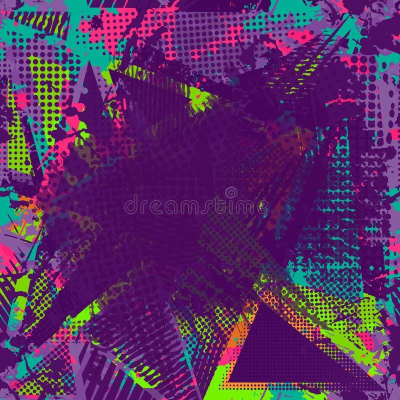 Utrymme för målarfärgslaglängdkopia abstrakt stads- modell royaltyfri illustrationer