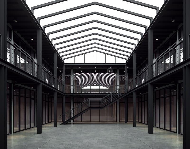 Utrymme för vindstilkontoret med den svarta stålstrukturen 3d framför royaltyfri illustrationer