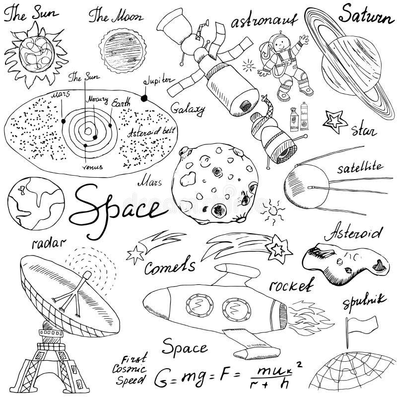 Utrymme klottrar symbolsuppsättningen Den drog handen skissar med solsystemet, planetmeteor och comats, solen och månen, radar, d vektor illustrationer