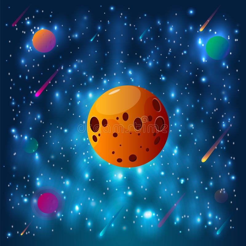 Utrymme- och planetbakgrund Planeter ytbehandlar med krater, stjärnor och komet i mörkt utrymme också vektor för coreldrawillustr stock illustrationer