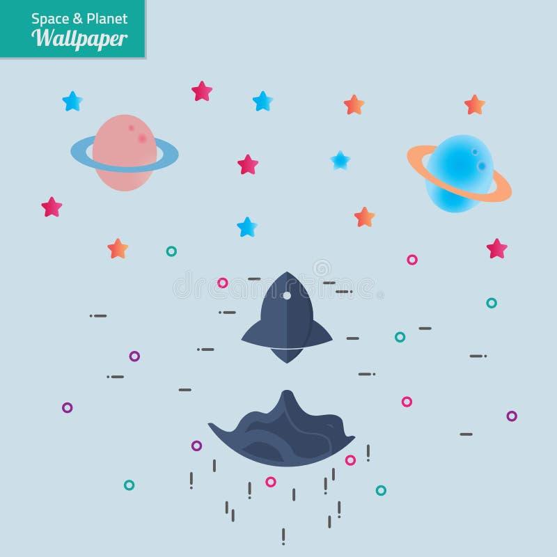Utrymme Rocket Planet Wallpaper Background royaltyfri illustrationer