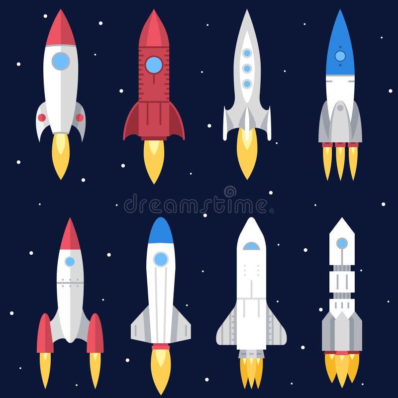 Utrymme Rocket Start Up och nytt lanseringssymbol stock illustrationer