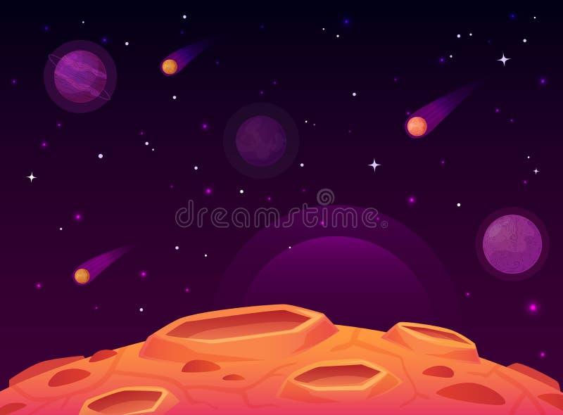 Utrymmeasteroidyttersida Planeten med krater ytbehandlar, utrymmeplaneter landskap och vektorn för kometkratertecknad film stock illustrationer
