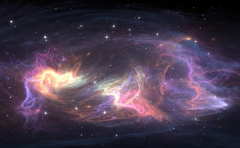 Utrymmebakgrund med nebulosan och stjärnor vektor illustrationer
