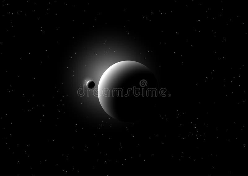 Utrymmebakgrund med uppdiktade planeter stock illustrationer