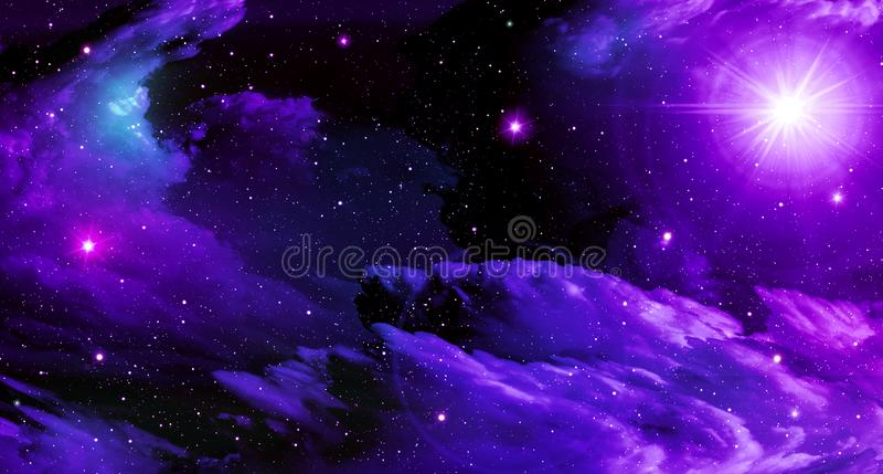 Utrymmebakgrund, prålig ljus stjärna, purpurfärgat, svart som är ljus, utrymme, moln, stjärnor vektor illustrationer