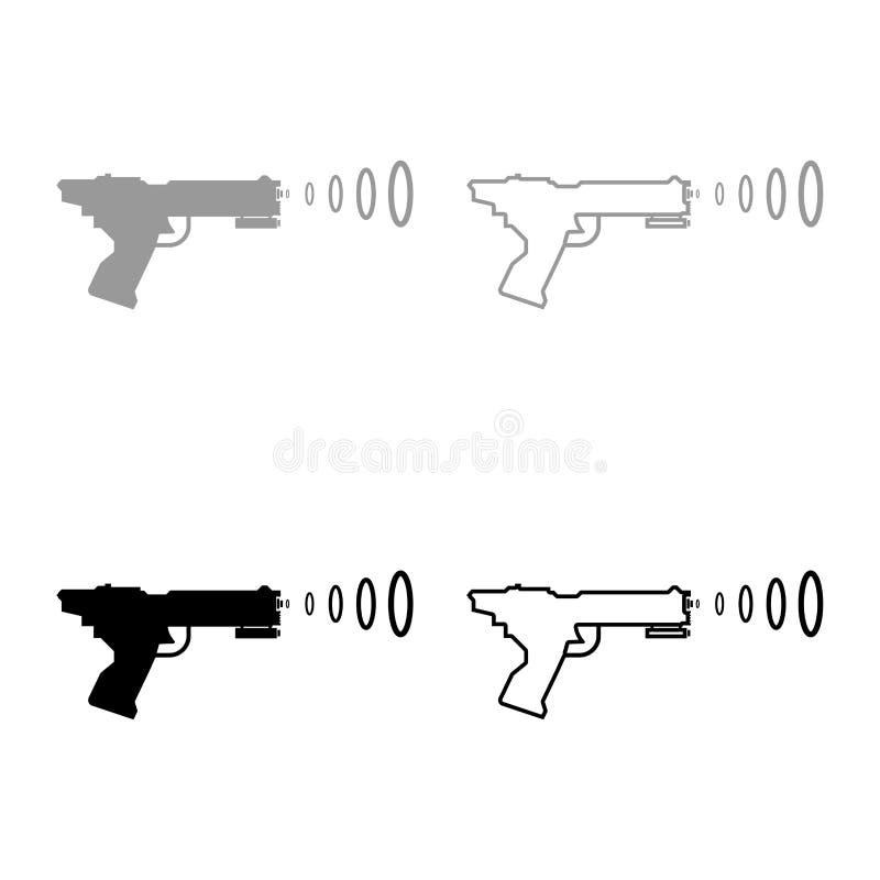 UtrymmeBlasterbarns symbolen för vågen för blasteren för skytte för vapnet för utrymme för det Toy Futuristic vapnet ställde in p stock illustrationer