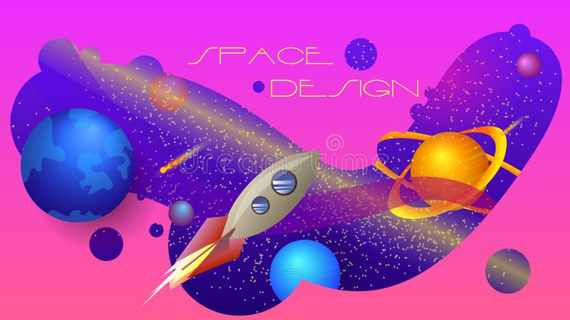 Utrymmedesign en färgrik sammansättning royaltyfri illustrationer