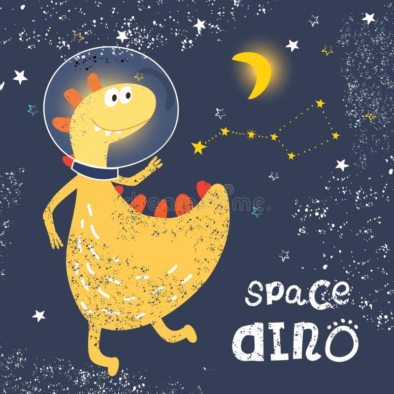 Utrymmedinosaurie i ett spacesuitflyg in i utrymme Konstellation Ursa Minor Trendig grungetextur eller tryck för barns desi royaltyfri illustrationer