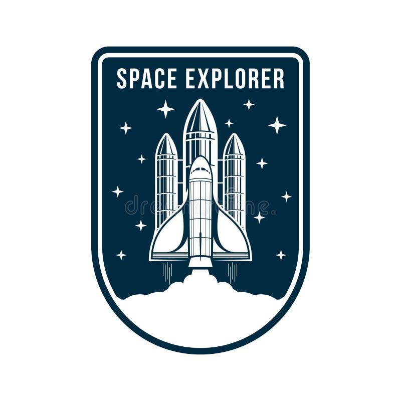 Utrymmeemblem med raket- och rymdskepplanseringen Tappningastronautetikett eller lapp för broderi i utrymmebegrepp royaltyfri illustrationer