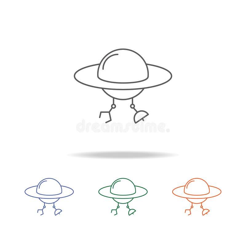 Utrymmefrämlingar ufosymbol Beståndsdel av en mång- kulör symbol för utrymme för mobila begrepps- och rengöringsdukapps Tunn linj stock illustrationer