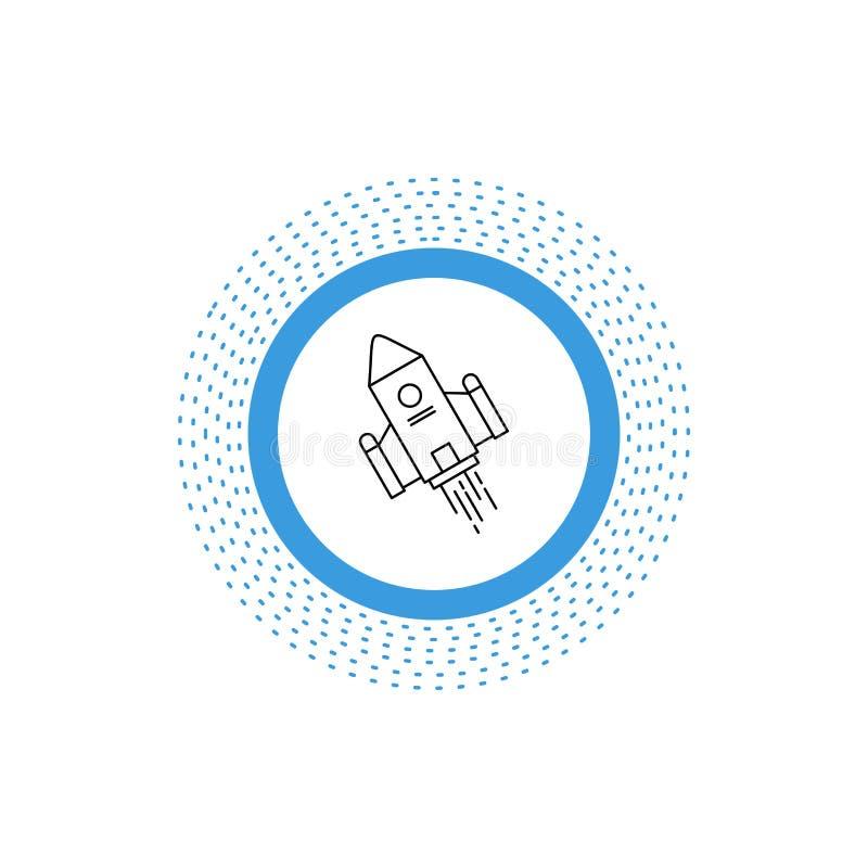 utrymmehantverk, anslutning, utrymme, raket, lanseringslinje symbol Vektor isolerad illustration royaltyfri illustrationer