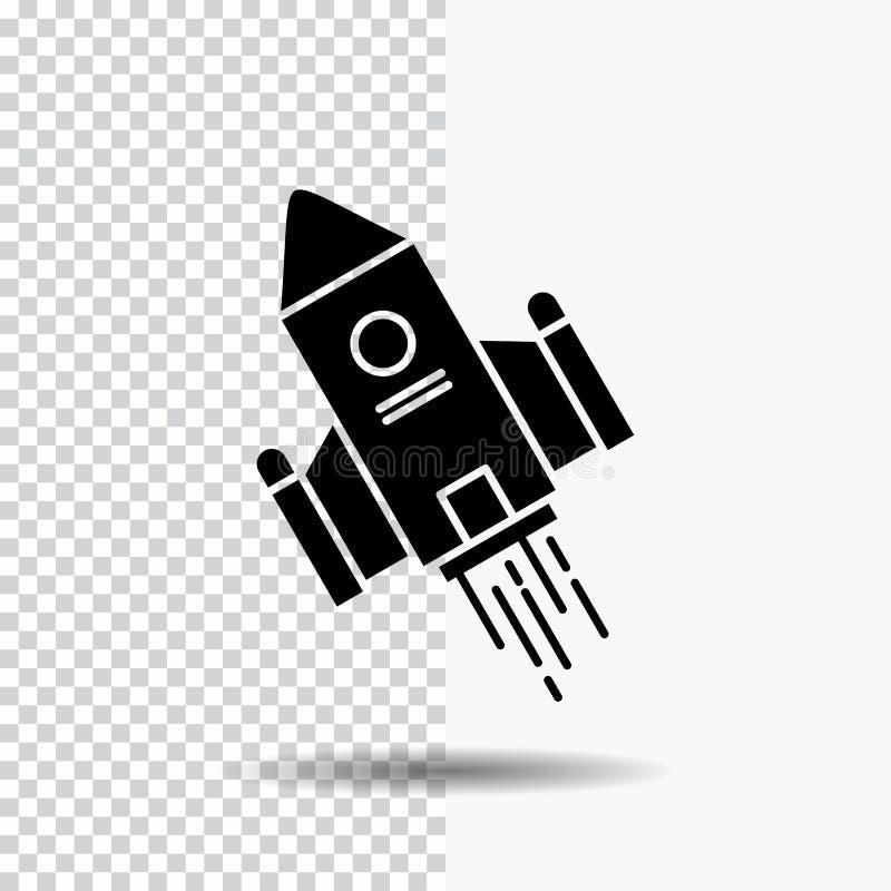utrymmehantverk, anslutning, utrymme, raket, lanseringsskårasymbol på genomskinlig bakgrund Svart symbol stock illustrationer