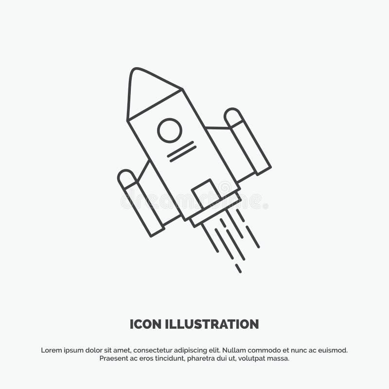utrymmehantverk, anslutning, utrymme, raket, lanseringssymbol Linje gr?tt symbol f?r vektor f?r UI och UX, website eller mobil ap royaltyfri illustrationer