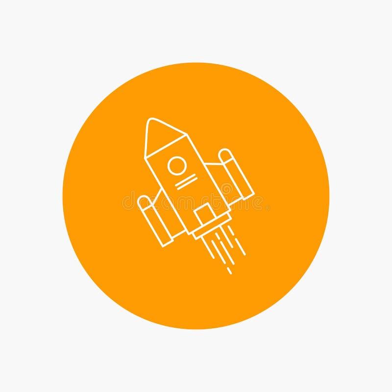 utrymmehantverk, anslutning, utrymme, raket, vit linje symbol för lansering i cirkelbakgrund Vektorsymbolsillustration royaltyfri illustrationer