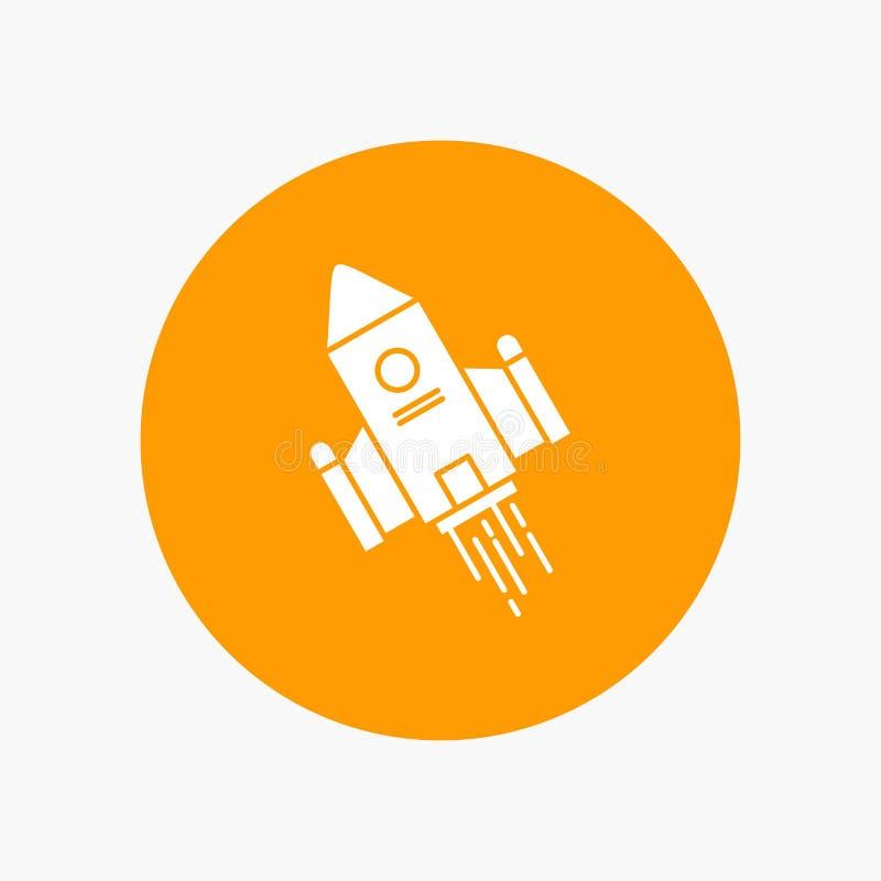 utrymmehantverk, anslutning, utrymme, raket, vit skårasymbol för lansering i cirkel Vektorknappillustration stock illustrationer