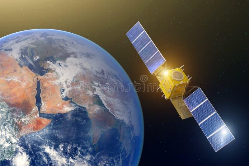 Utrymmekommunikationssatellit i hög omloppjord Beståndsdelar av denna avbildar möblerat av NASA arkivbild