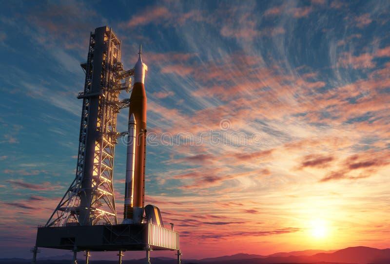 Utrymmelanseringssystem på Launchpad över bakgrund av soluppgång royaltyfri illustrationer