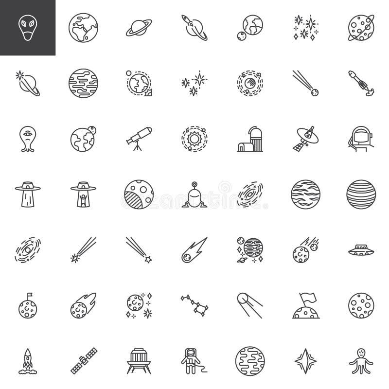 Utrymmelinje symbolsupps?ttning royaltyfri illustrationer