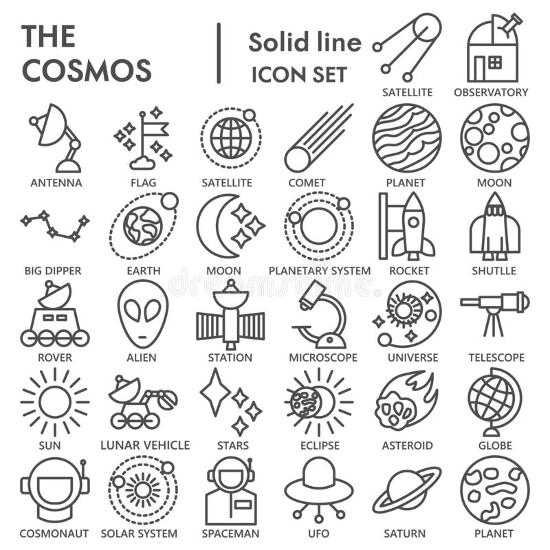 Utrymmelinjen den UNDERTECKNADE symbolsuppsättningen, astronomisymboler samlingen, vektor skissar, logoillustrationer, linjärt ve royaltyfri illustrationer