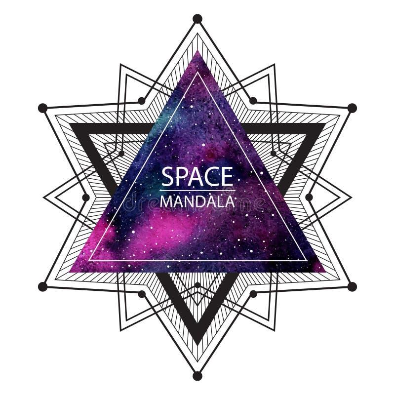 Utrymmemandalaillustration eller kosmisk bakgrund royaltyfri illustrationer