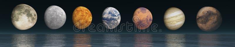Utrymmepanoramalandskap sikt av universumet stock illustrationer