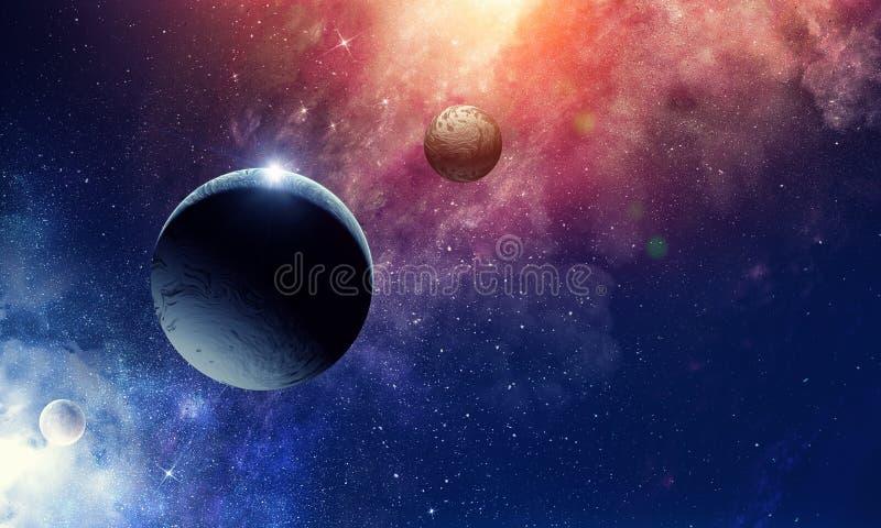 Utrymmeplaneter och nebulosa fotografering för bildbyråer