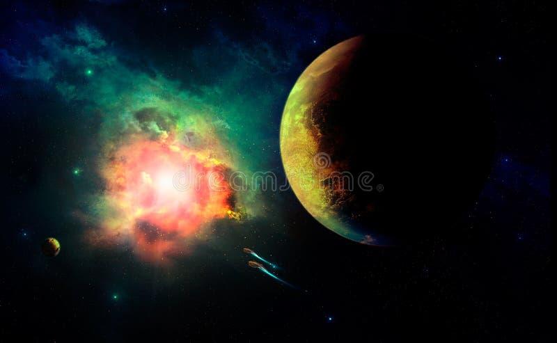 Utrymmeplats Exploderande stjärna Beståndsdelar som möbleras av NASA stock illustrationer