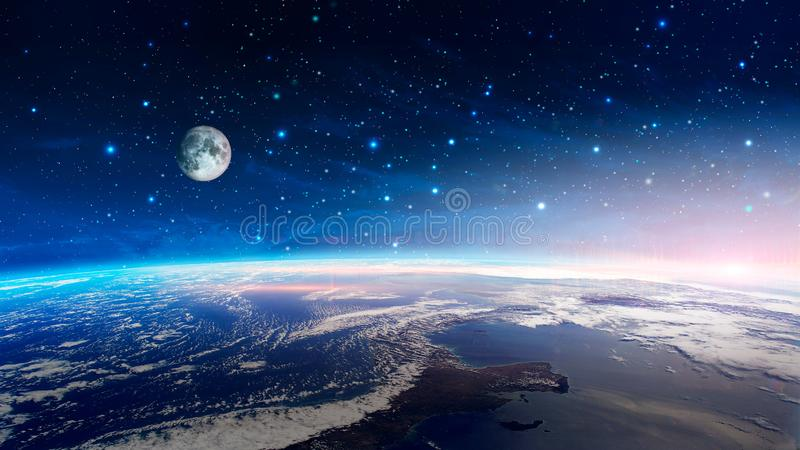 Utrymmeplats Färgrik nebulosa med den jordplaneten och månen med stjärnor Beståndsdelar som möbleras av NASA framförande 3d arkivfoton