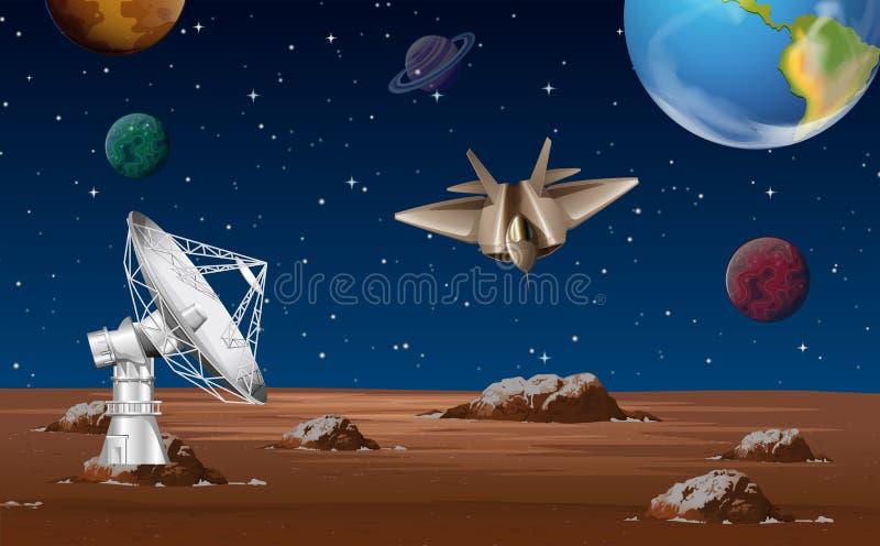 Utrymmeplats med den satellit- maträtten och rymdskeppet stock illustrationer