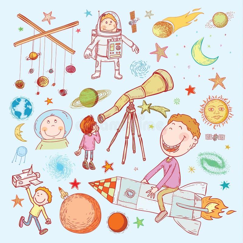 Utrymmepojkeuppsättning, hand dragen vektorillustration stock illustrationer