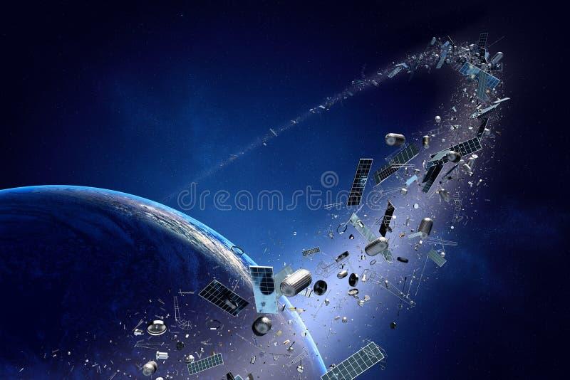 Utrymmeskräp (förorening) som kretsar kring jord vektor illustrationer