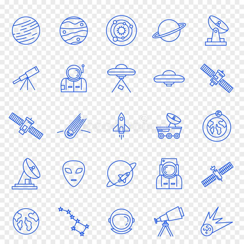 Utrymmesymbolsuppsättning 25 vektorsymboler packar stock illustrationer