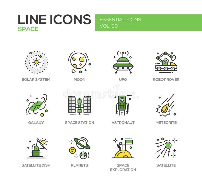 Utrymmet - linje designsymbolsuppsättning stock illustrationer