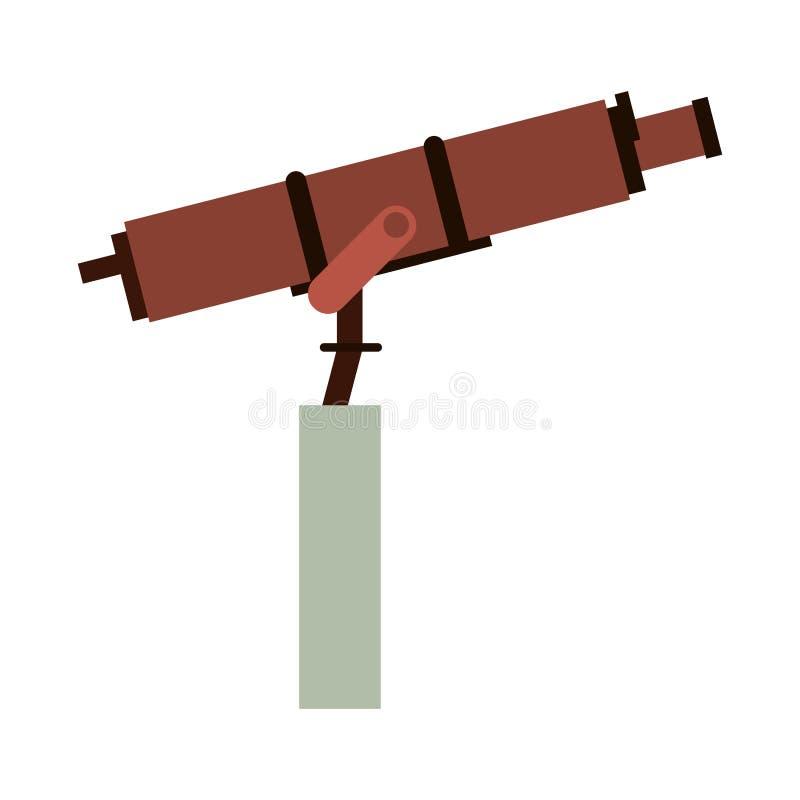 Utrymmeteleskopet på plataformsymbol isolerade vektor illustrationer