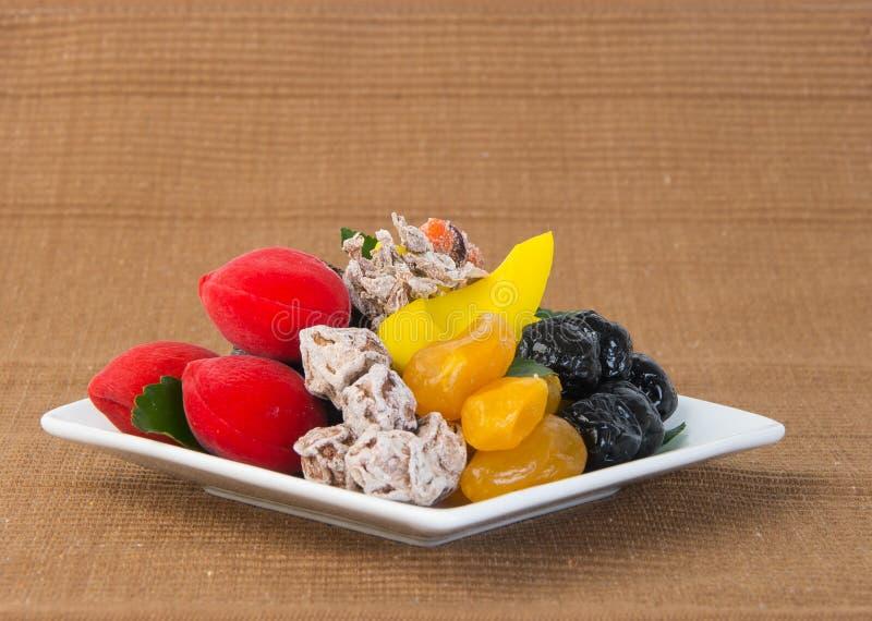 Utrzymane owoc & Wysuszone owoc Karmowa przekąska na tle fotografia royalty free
